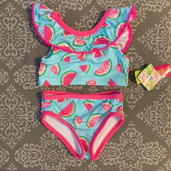 PENELOPE MACK PINK /& BROWN FLORAL SWIMSUIT 2T 3T 4T~NWT